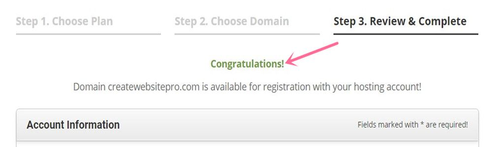 SiteGround register domain succeed