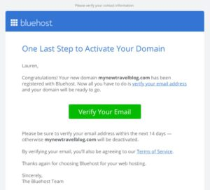 verify bluehost account